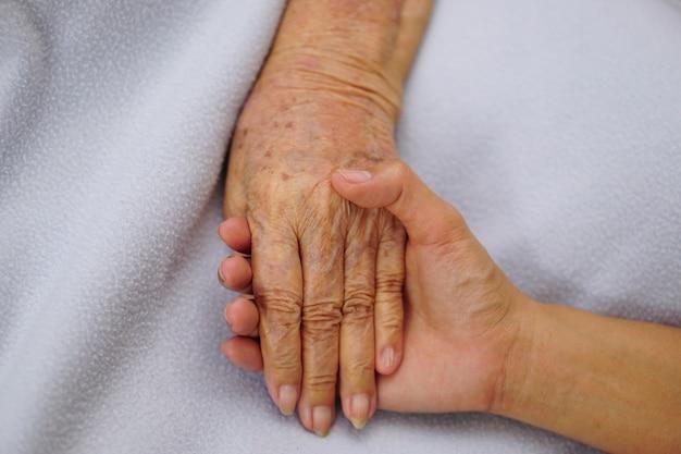 Tocando ou segurando as mãos asiático sênior
