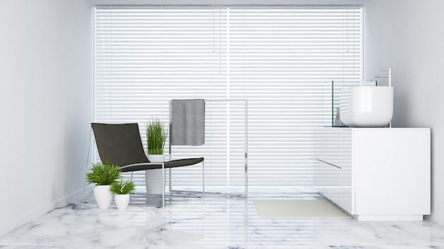Tom branco de lavatório no hotel ou apartamento - renderização em 3d