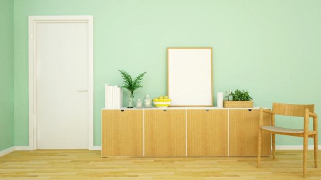 Tom verde área de estar em apartamento ou em casa - renderização em 3d