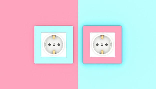 Tomadas elétricas em rosa e azul