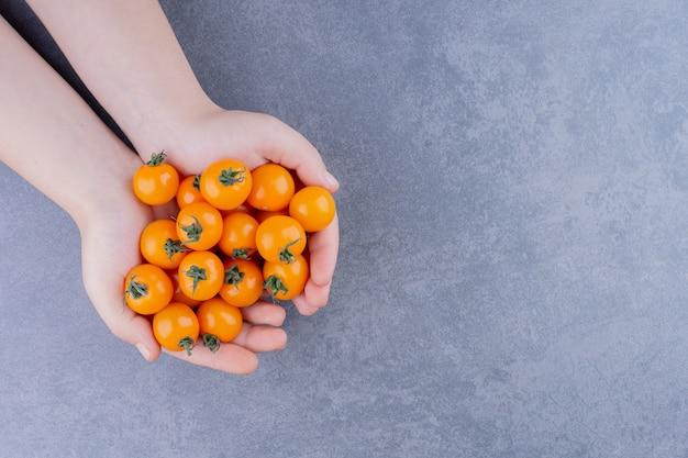 Tomate cereja amarelo isolado na superfície azul
