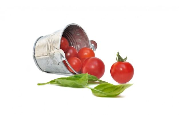 Tomate cereja com manjericão
