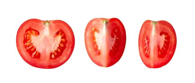 Tomates frescos em branco. vista do topo