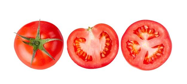 Tomates frescos em fundo branco