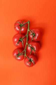 Tomates isolados na superfície vermelha