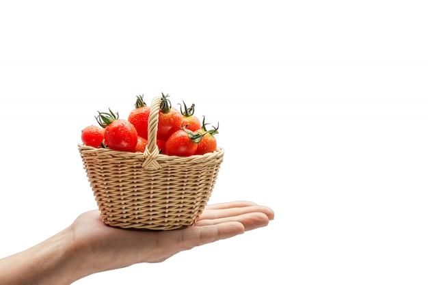 Tomates vermelhos no cesto isolado no fundo branco