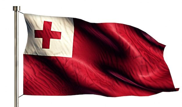 Tonga national flag isolated 3d fundo branco