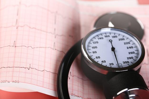 Tonômetro para medir a pressão e ecg em um fundo rosa