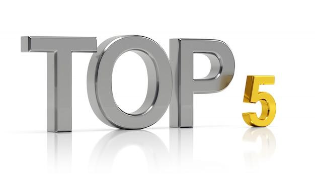 Top 5. lista dos cinco melhores.