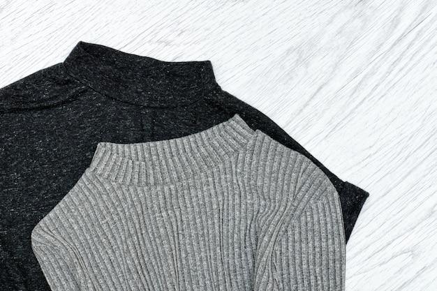 Top cinza e preto. conceito de moda.