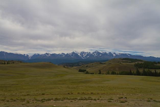 Top de neve nas montanhas de altai. vista de baixo.
