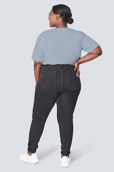 Top feminino e jeans plus size fashion