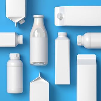 Top visto 5 tipos de embalagens de leite deitado vertical e horizontal em branco sobre o fundo azul