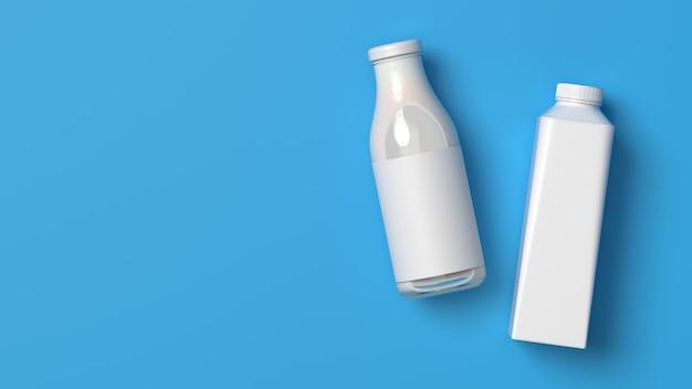 Top visto em branco deitado copo de leite e garrafas de plástico