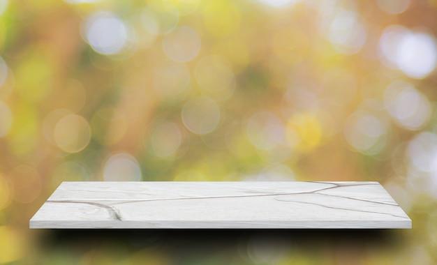 Topo vazio da mesa branca em amarelo