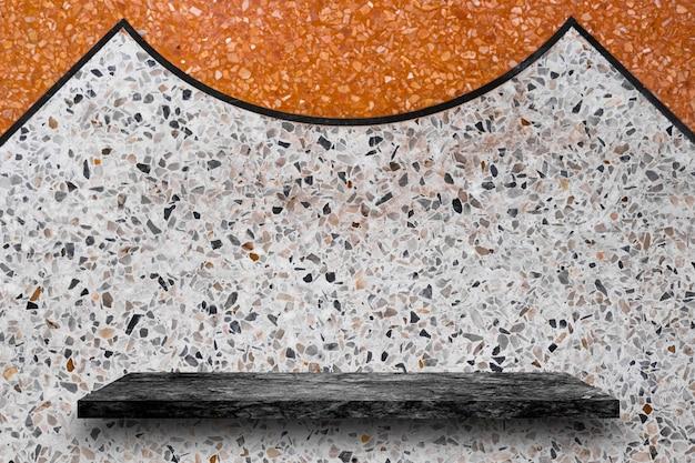 Topo vazio de pedra preta de mármore prateleiras em fundo de terraço, exposição do produto
