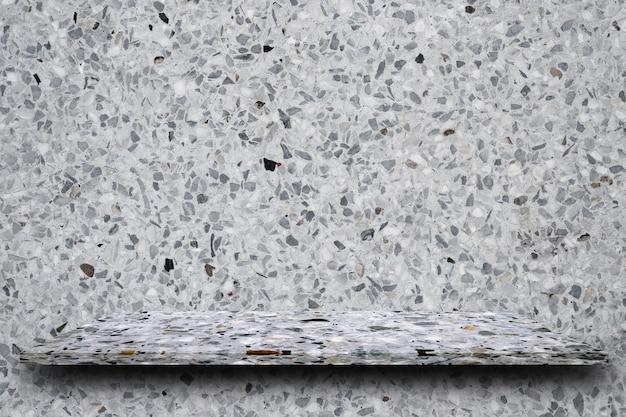 Topo vazio de prateleiras de pedra de terrazzo polido em fundo de terraço