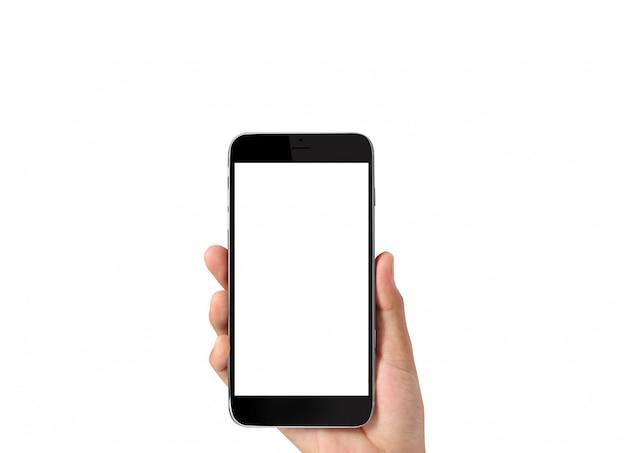 Toque o smartphone na mão