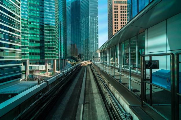 Tóquio, arquitetura, predios, de, cena, de, yurikamome monorail, para, odaiba, área, tóquio, cityscape, japão