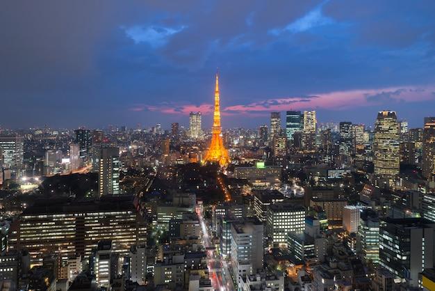 Tóquio, em, quase, vista, de, torre tokyo, skyline cidade tóquio, tóquio, japão