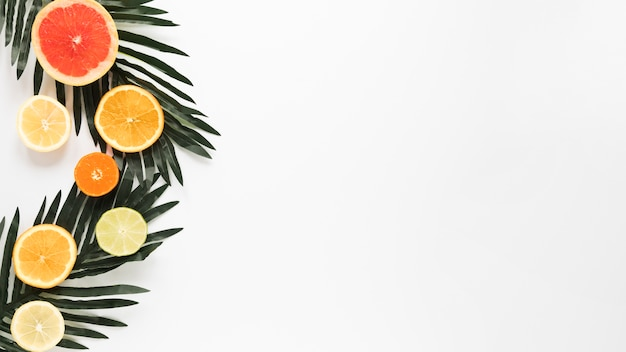 Toranja orgânica de vista superior com fatias de laranja