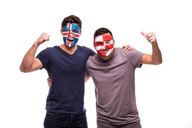 Torcedores de futebol com o rosto pintado de seleções da islândia e da croácia isolados