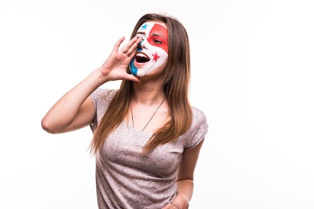 Torcida da seleção do panamá com rosto pintado e grito isolado no fundo branco