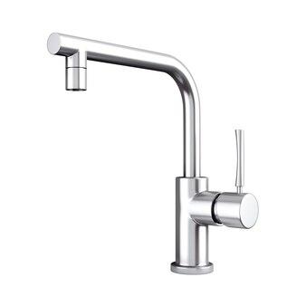 Torneira de água da cozinha moderna de aço inoxidável, torneira em um fundo branco. renderização 3d.