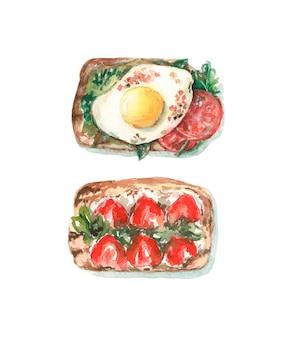 Torradas com ovo e tomate, torradas com morangos e queijo.