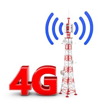 Torre de comunicação e figuras volumétricas 4g.