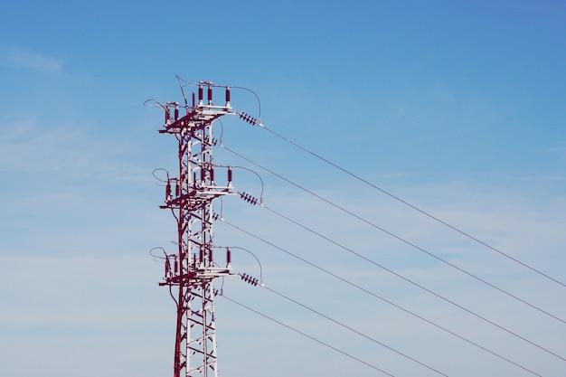 Torre de eletricidade, alta tensão, torre de transmissão