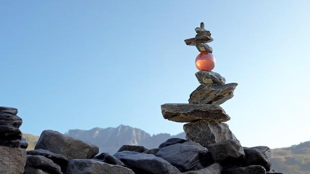 Torre de pedras em equilíbrio (rock balance) com uma esfera de cristal segurando as pedras superiores.