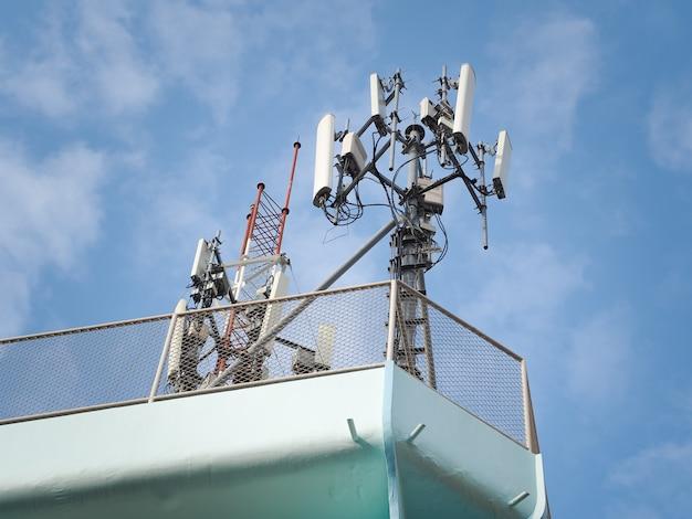 Torre de telecomunicações contra o céu azul com nuvens.