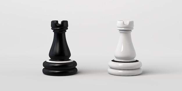 Torre de xadrez preto e branco frente a frente. isolado em um fundo branco.