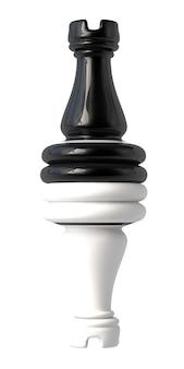 Torre de xadrez preto e branco virada de cabeça para baixo. isolado em um fundo branco. ilustração 3d.