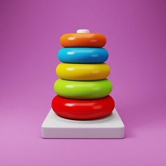 Torre do anel de plástico colorido. ilustração 3d