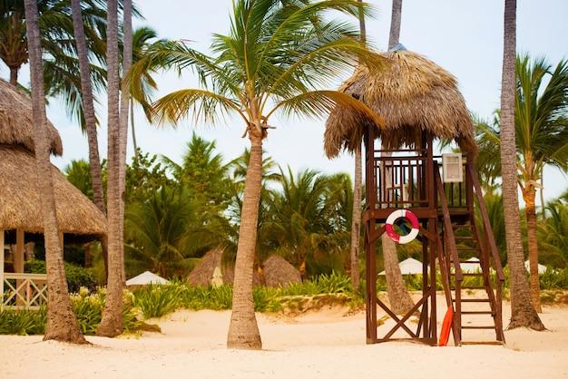 Torre do salva-vidas na praia em um fundo de palmeiras.