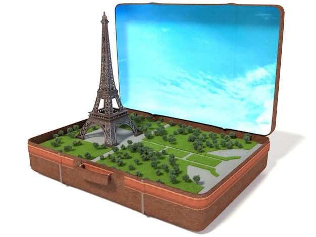 Torre eiffel em uma mala