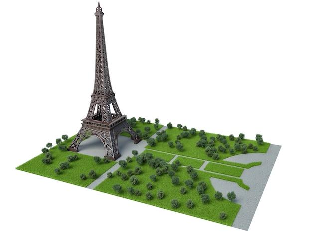 Torre eiffel. ilustração 3d