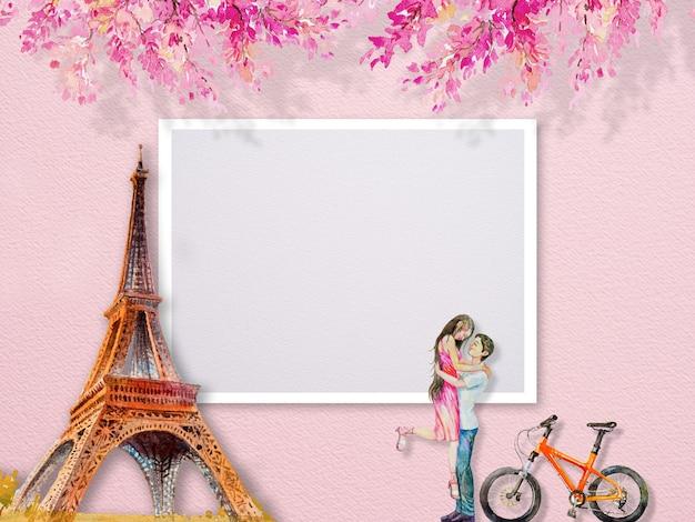 Torre eiffel paris frança e casal homem mulheres tourrism e flores cor de rosa. pintura em aquarela abstrata ilustração cópia espaço texto, populares marcos famosos dos mundos.