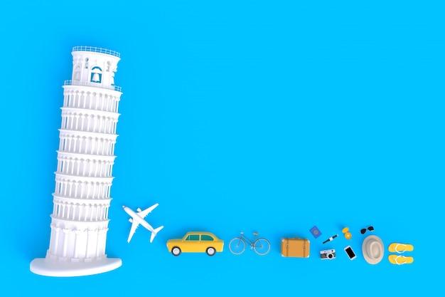 Torre inclinada de pisa e acessórios de viagem