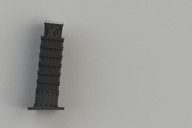 Torre inclinada preta de pisa no fundo preto, rendição 3d