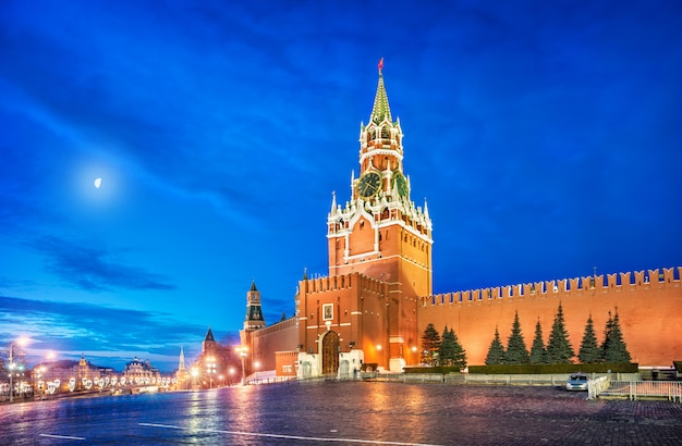 Torre spasskaya na praça vermelha de moscou