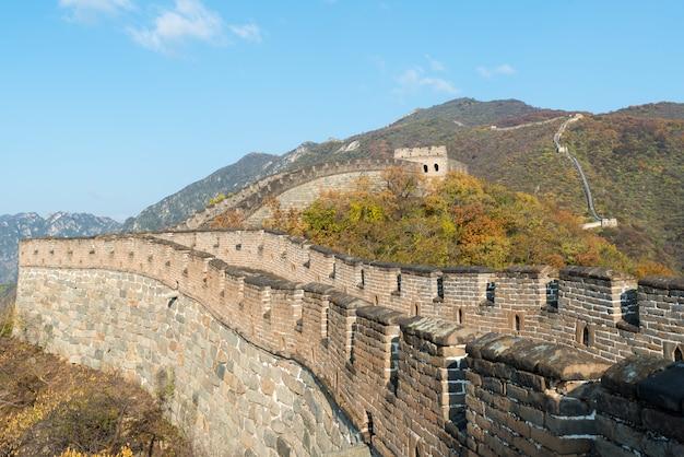 Torres comprimidas e segmentos de parede de vista distante da grande muralha
