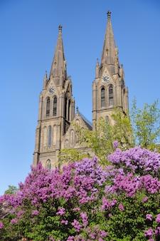 Torres da igreja de st ludmila. praga, primavera