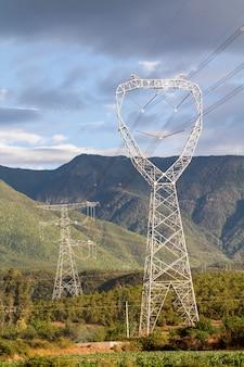 Torres de linha de energia, yunnan china