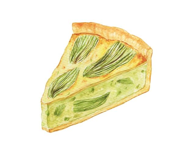 Torta de abobrinha em aquarela. torta vegana