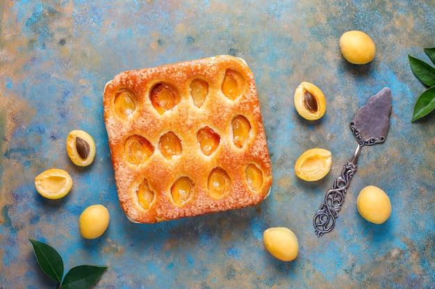 Torta de damasco de verão caseira deliciosa fruta sobremesa