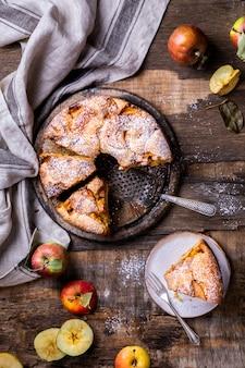 Torta de maçã. cozimento de outono perfumado.