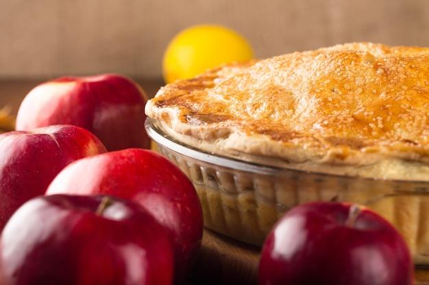 Torta de maçã deliciosa, close-up
